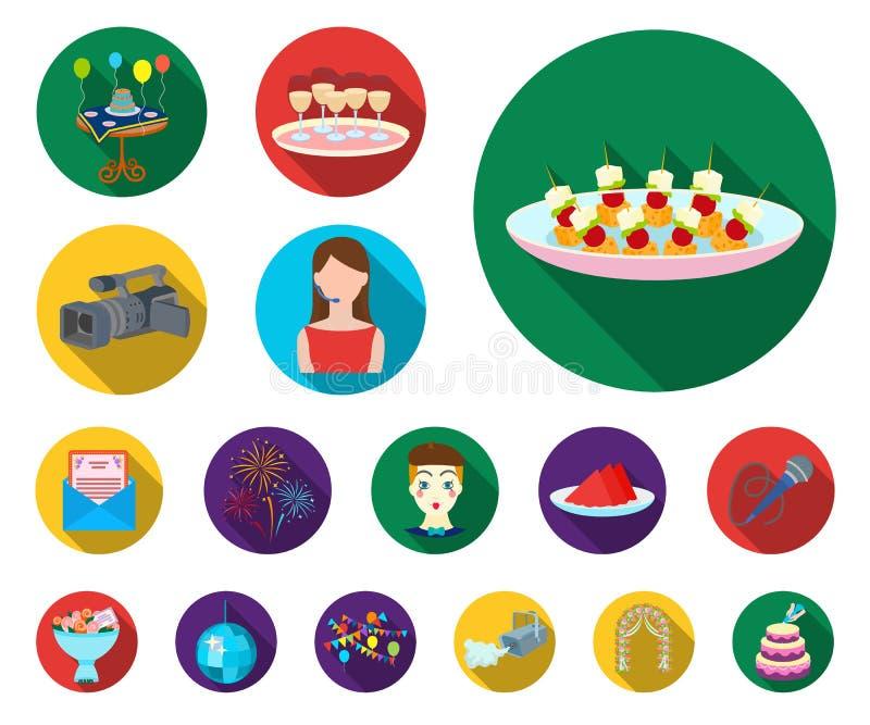 Flache Ikonen der Ereignis-Organisation in der Satzsammlung für Design Feier- und Attributvektorsymbol-Vorratnetz lizenzfreie abbildung