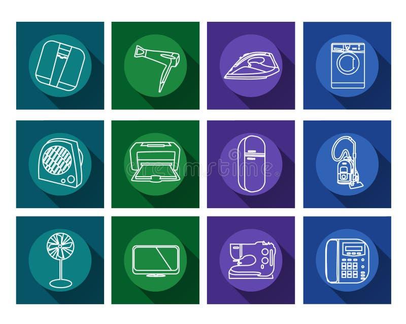 Flache Ikonen der Haushaltsgeräte eingestellt lizenzfreies stockbild