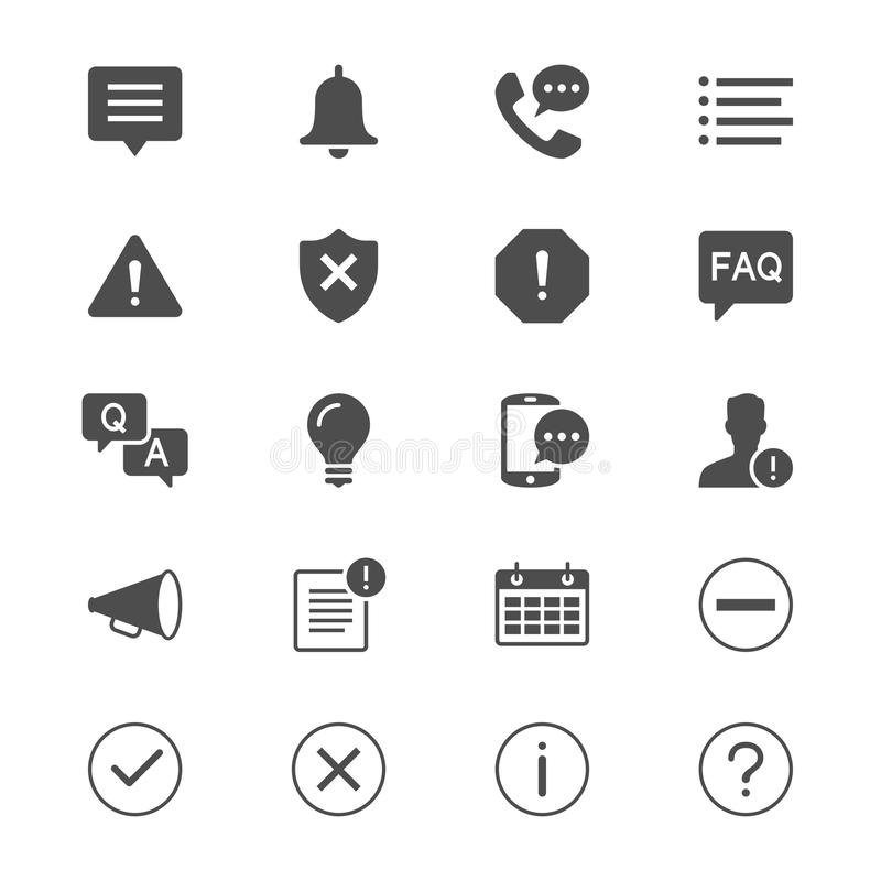 Flache Ikonen der Informationen und der Mitteilung stock abbildung