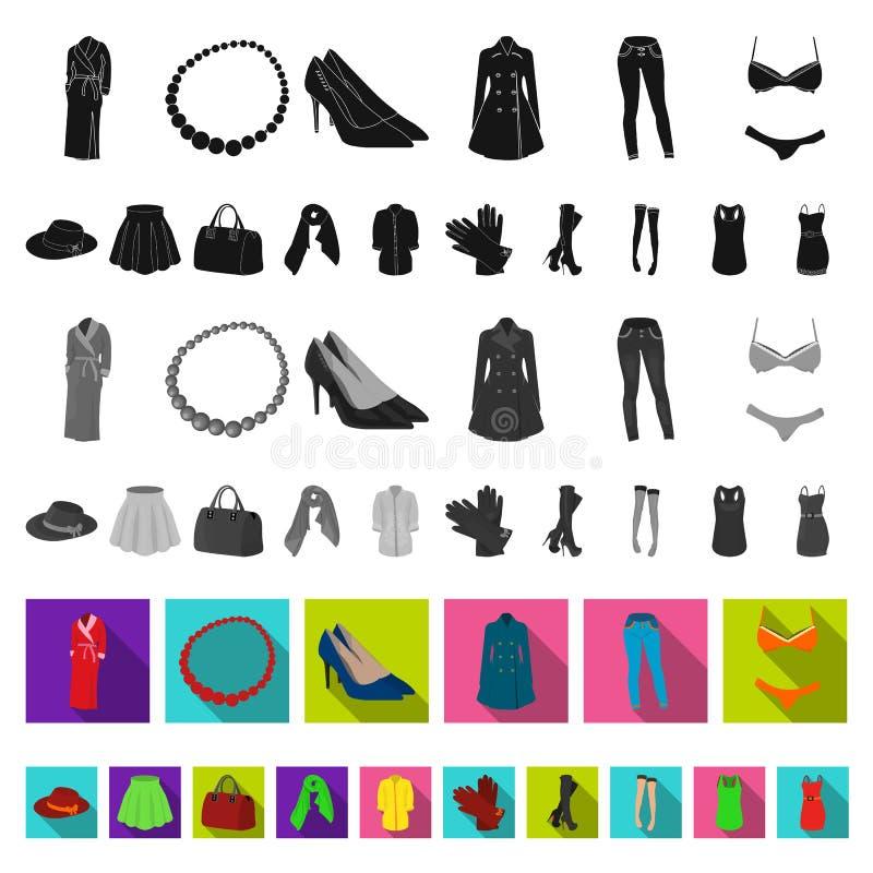 Flache Ikonen der Kleidungs der Frauen-s in der Satzsammlung für Design Kleidungs-Vielzahl und Zubehör vector Netz des Symbols au stock abbildung