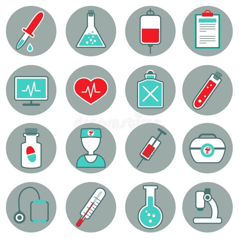 Flache Ikonen der Medizin eingestellt vektor abbildung