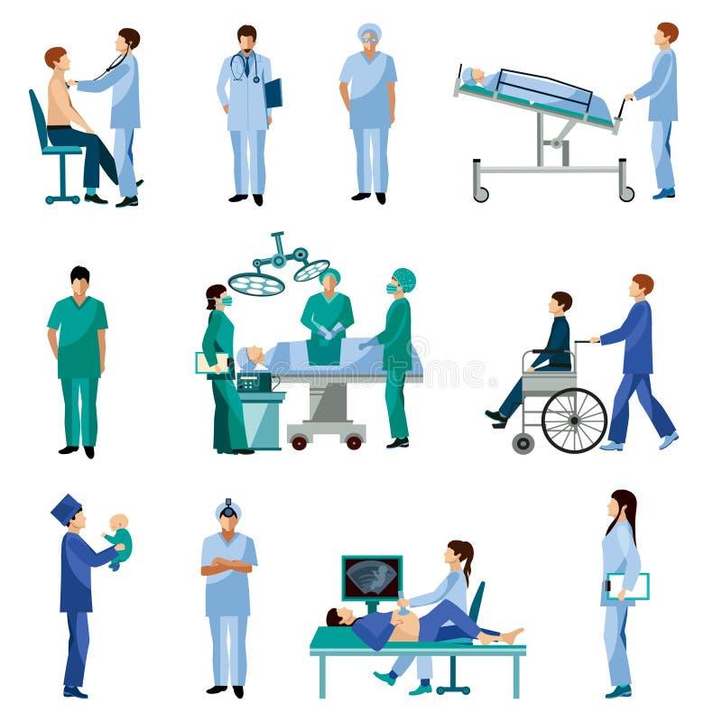 Flache Ikonen der medizinischen Berufsleute eingestellt lizenzfreie abbildung