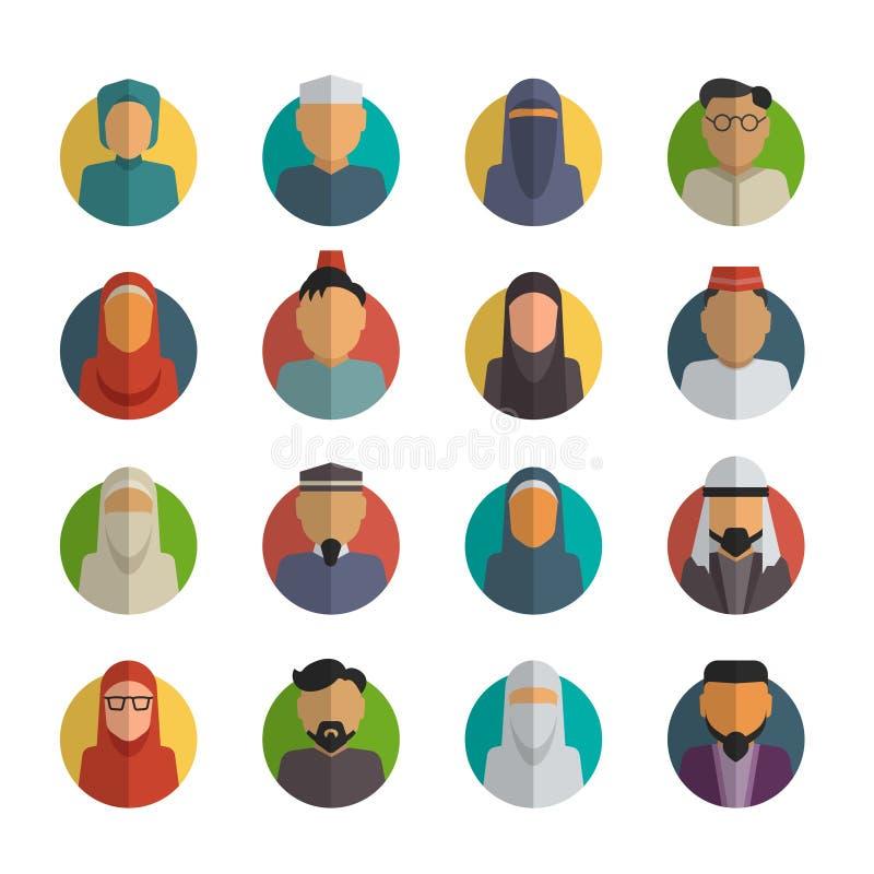 Flache Ikonen der nahöstlichen Leute eingestellt Moslemischer Mann lizenzfreie abbildung