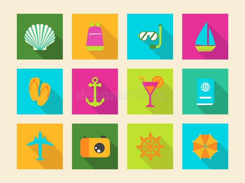 Flache Ikonen der Reise und der Ferien stock abbildung
