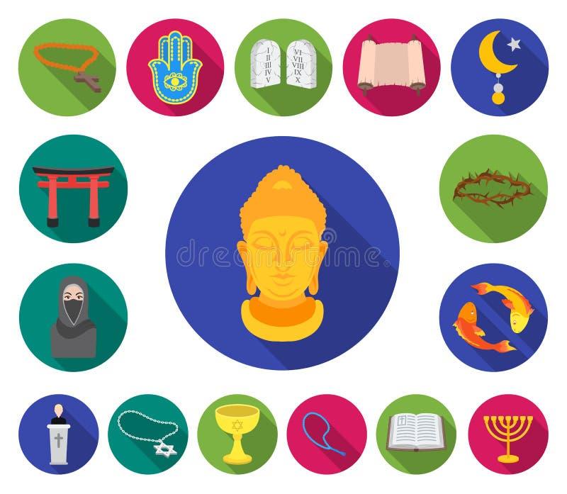 Flache Ikonen der Religion und des Glaubens in der Satzsammlung für Design Zubehör, Gebetsvektorsymbolvorrat-Netzillustration vektor abbildung