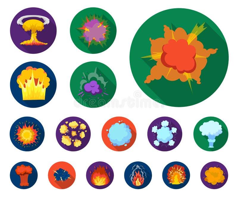 Flache Ikonen der verschiedenen Explosionen in der Satzsammlung für Design Blitz und Flamme vector Netzillustration des Symbols a stock abbildung