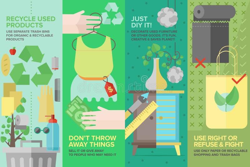 Flache Ikonen der wiederverwendeten und recyclebaren Produkte eingestellt stock abbildung