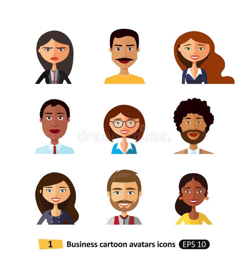 Flache Ikonen des Benutzergeschäftsleute-, -mann- und -frauenavataras vector Illustration lizenzfreie abbildung
