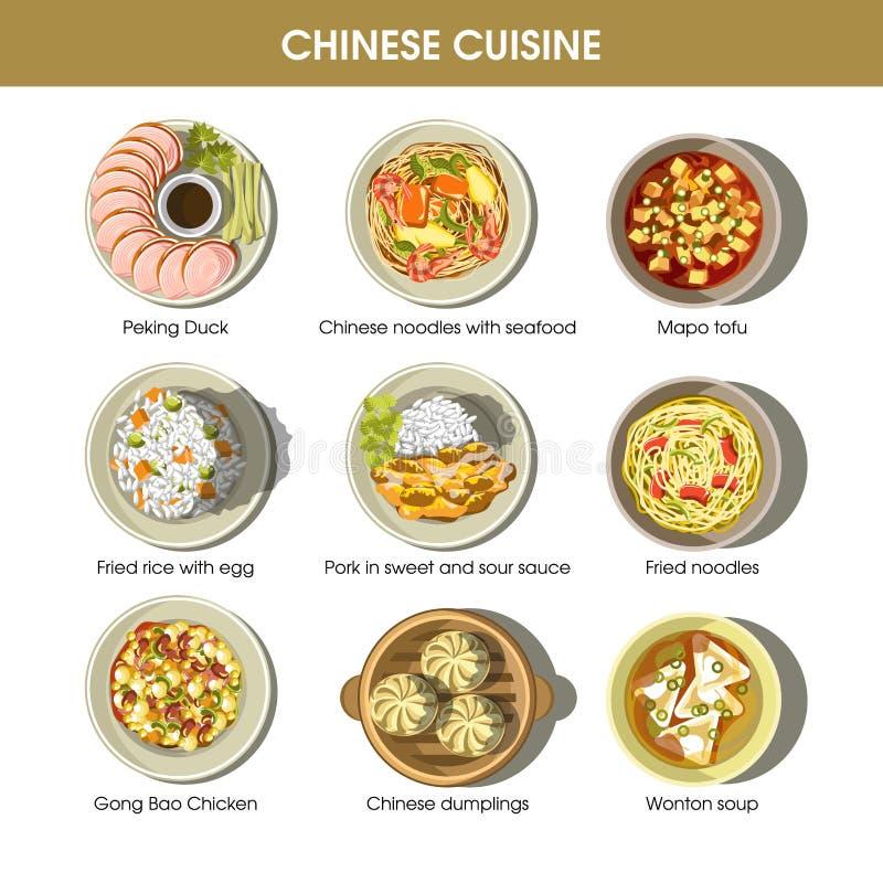 Flache Ikonen des chinesischen traditionellen Teller-Vektors des Küchemenüs eingestellt vektor abbildung