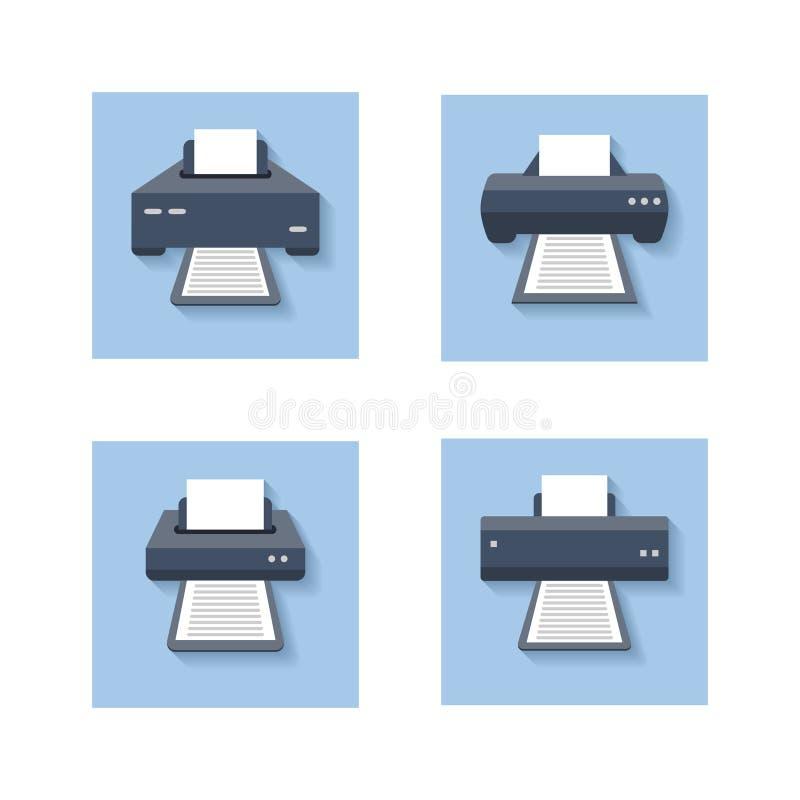 Flache Ikonen des Druckes Büropapierdrucker, -scanner und -fotokopierer färbten Zeichen lizenzfreie abbildung