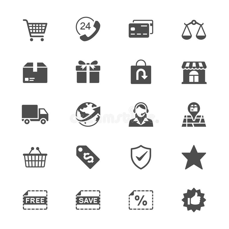 Flache Ikonen des E-Commerce lizenzfreie abbildung