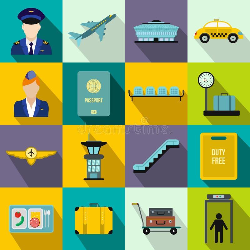 Flache Ikonen des Flughafens stock abbildung