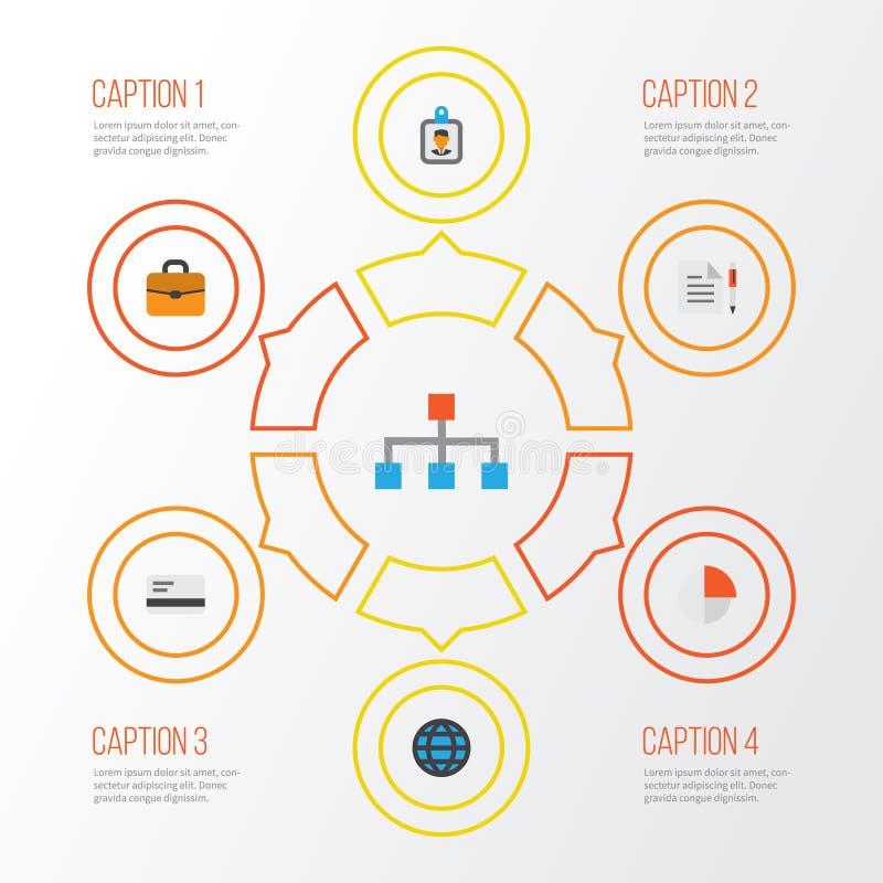 Flache Ikonen des Geschäfts eingestellt Sammlung Hierarchie, Identifikations-Ausweis, Koffer und andere Elemente Schließt auch Sy stock abbildung