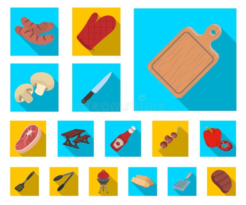 Flache Ikonen des Grills und der Ausrüstung in der Satzsammlung für Design Picknicken Sie und briet Lebensmittelvektorsymbol-Vorr lizenzfreie abbildung