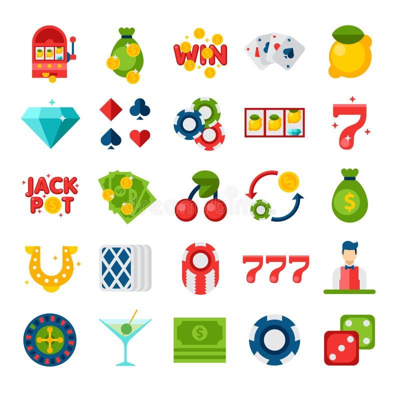 Flache Ikonen des Kasinos 25 stockbilder