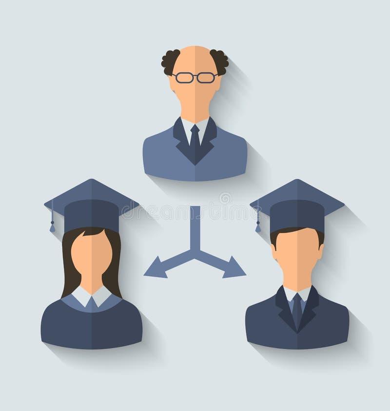 Flache Ikonen des Lehrers und seiner Studenten haben vom U graduiert vektor abbildung
