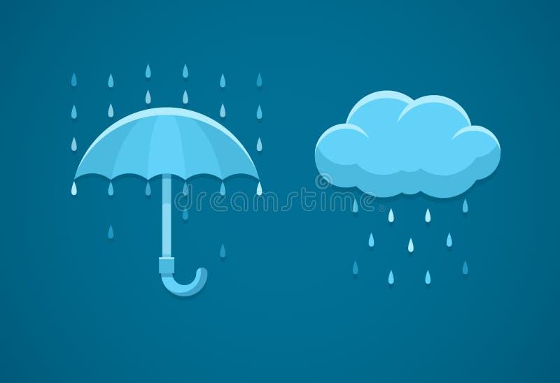 Flache Ikonen des regnerischen Wetters mit Wolke regnen Tropfen und Regenschirm lizenzfreie abbildung