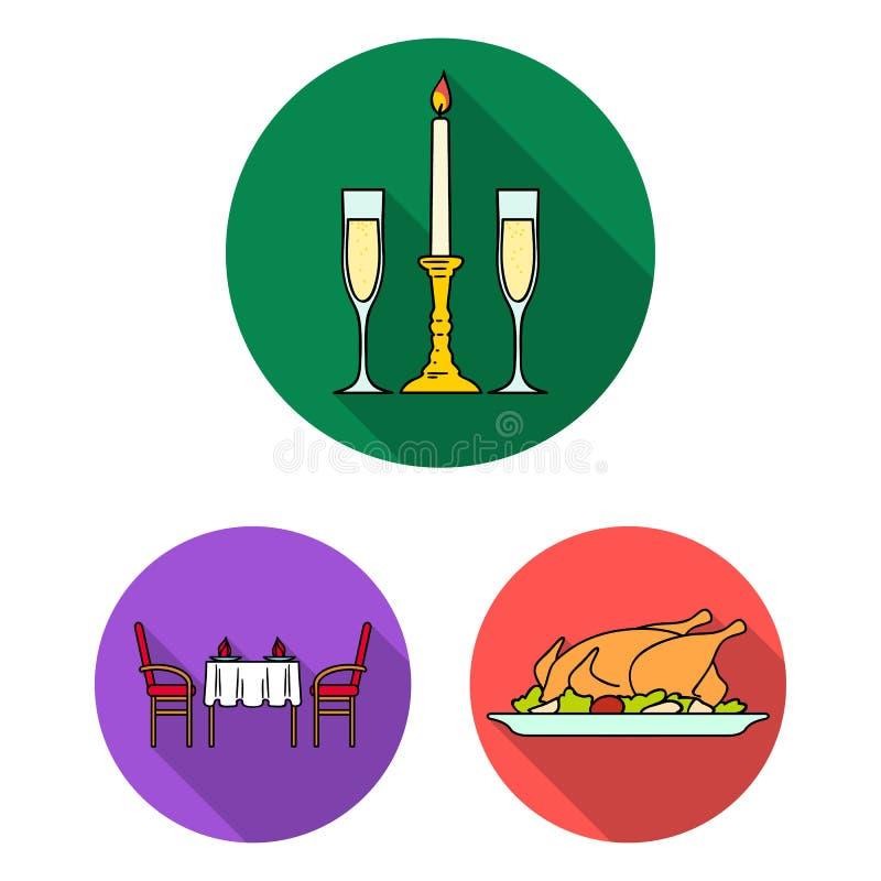 Flache Ikonen des Restaurants und der Bar in der Satzsammlung für Design Vergnügen, Lebensmittel und Alkohol vector Netz des Symb lizenzfreie abbildung