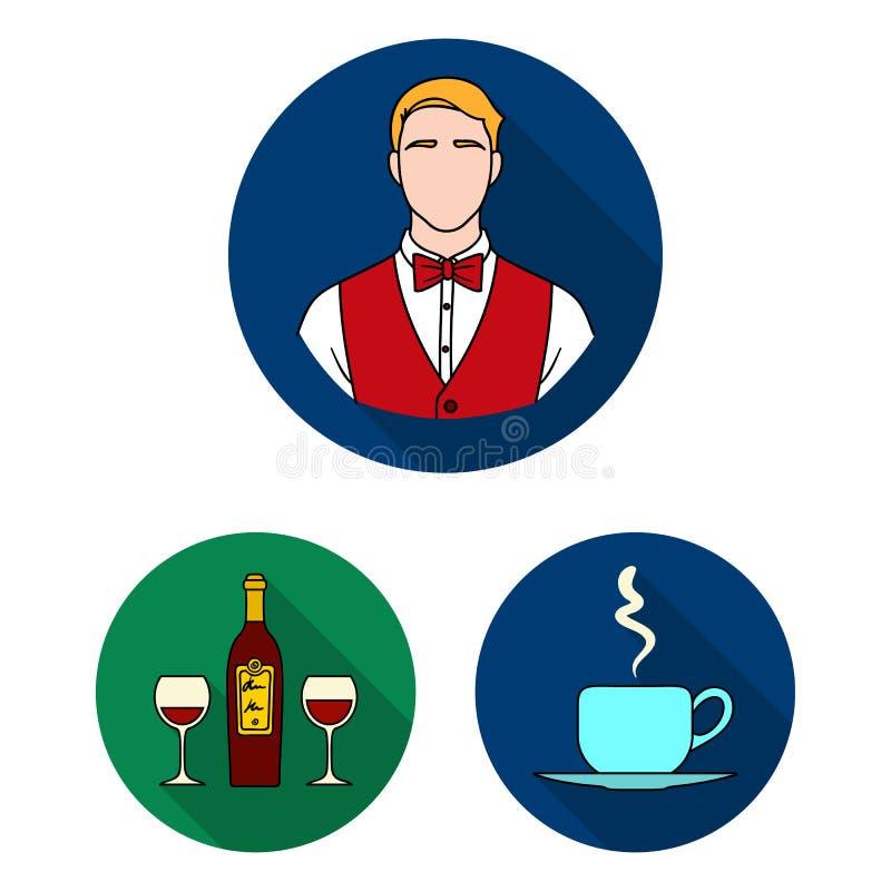 Flache Ikonen des Restaurants und der Bar in der Satzsammlung für Design Vergnügen, Lebensmittel und Alkohol vector Netz des Symb stock abbildung