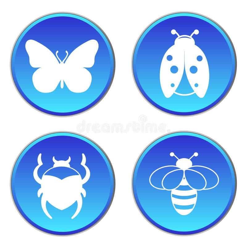 Flache Ikonen des runden Knopfes der Insekten eingestellt stock abbildung