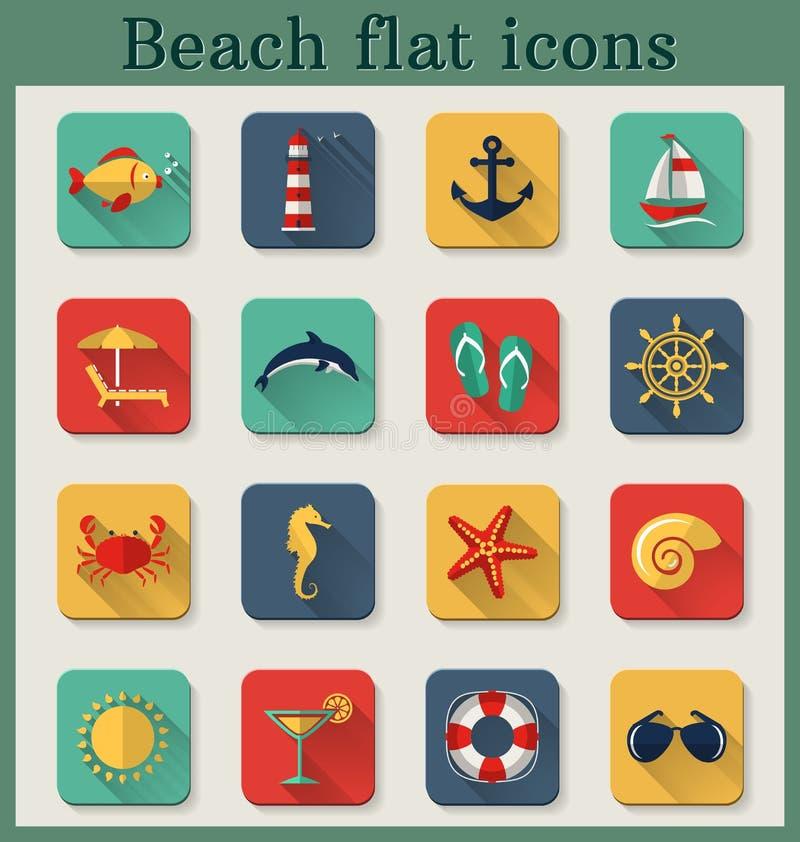 Flache Ikonen des Strandes. Vektorsatz. stock abbildung
