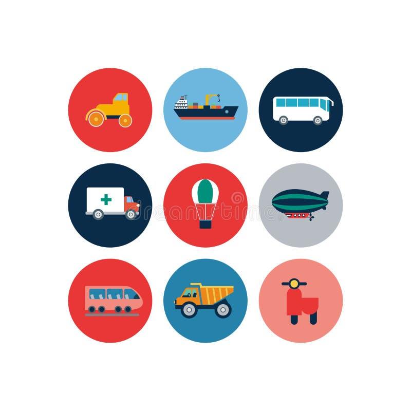 Flache Ikonen des Transportes Autos und flache Illustration des Vektors der öffentlichen Transportmittel lizenzfreie abbildung