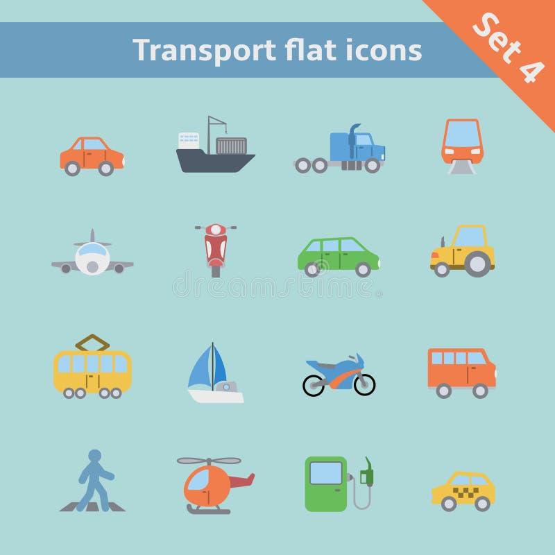 Flache Ikonen des Transportes eingestellt stock abbildung