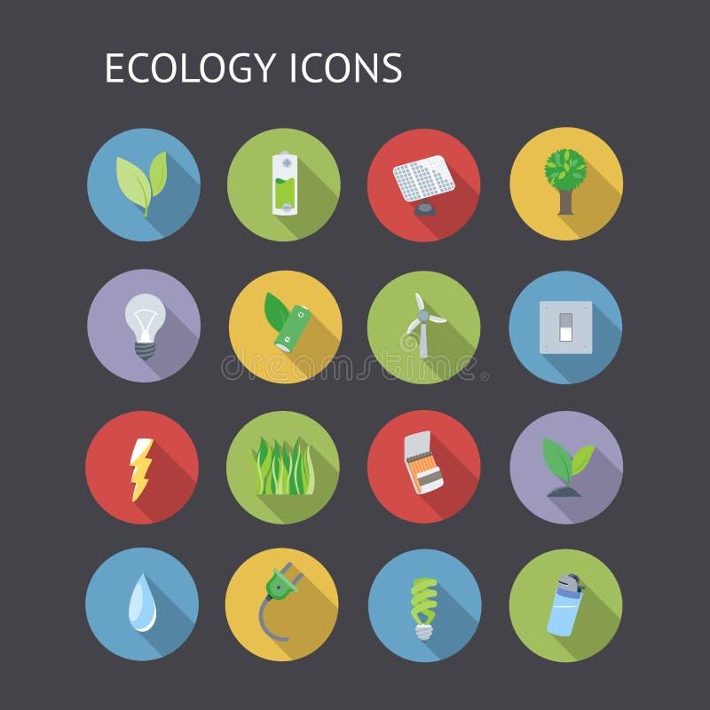 Flache Ikonen für Ökologie vektor abbildung