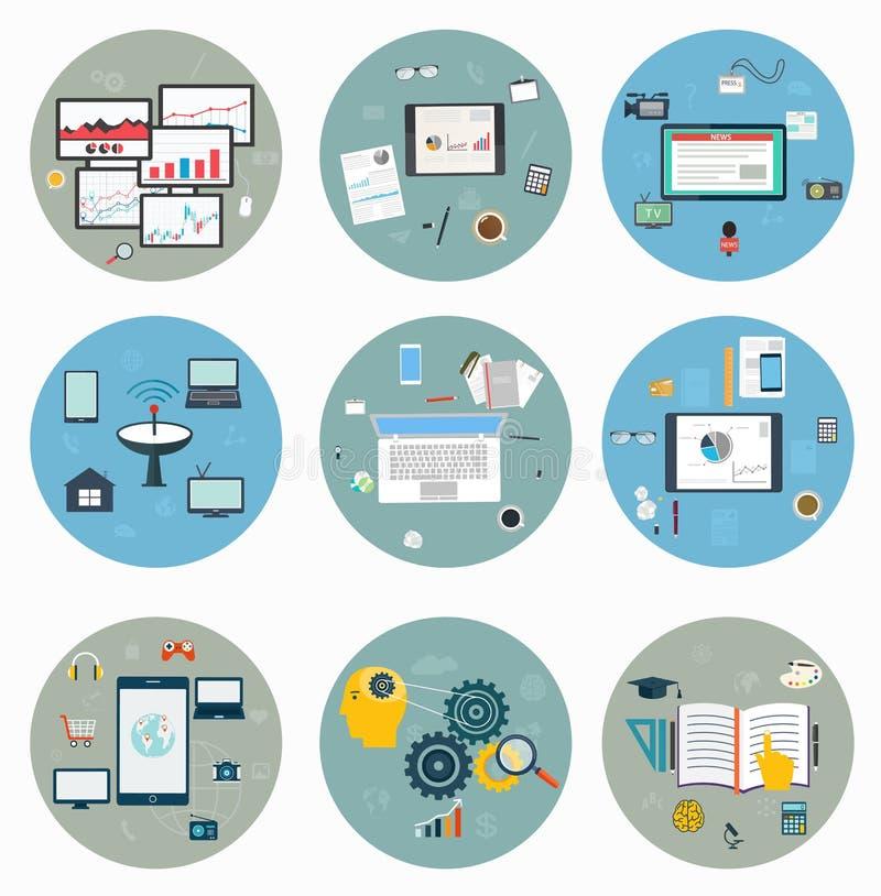 Flache Ikonen für Netz und beweglich, Geschäftsstrategie lizenzfreie abbildung