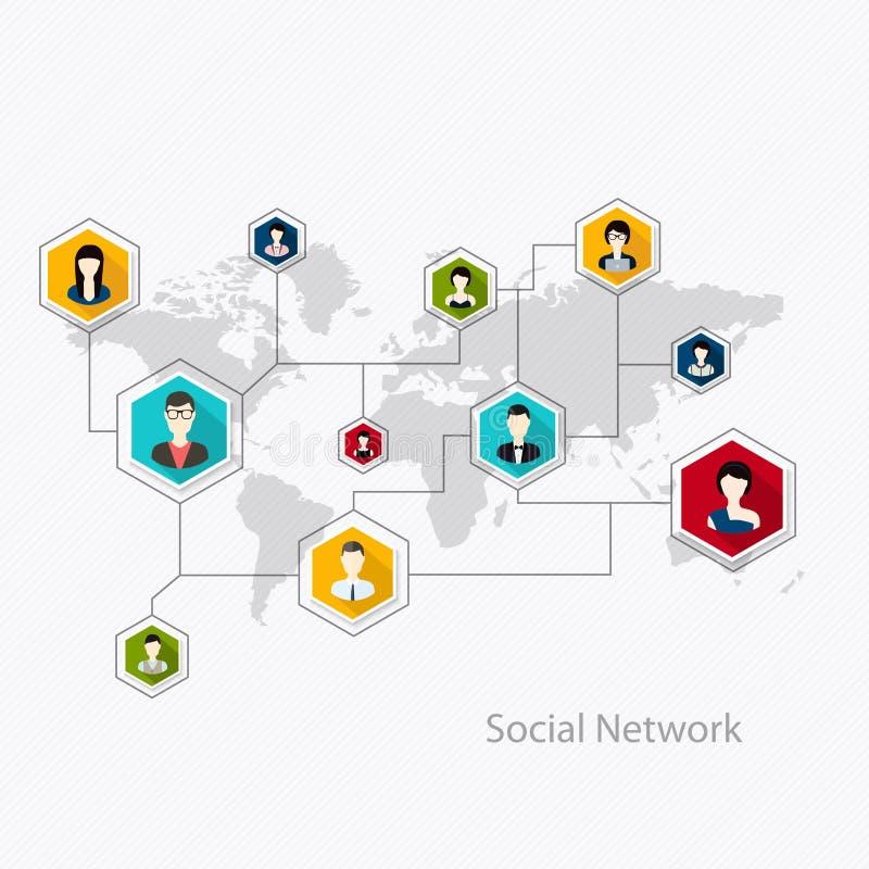 Flache Ikonen für Social Media und Network Connection Konzept Vect lizenzfreie abbildung