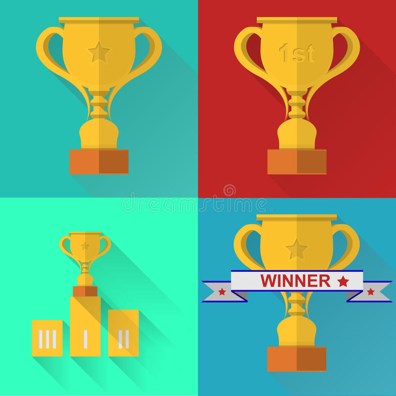 Flache Ikonen für Wettbewerb stock abbildung