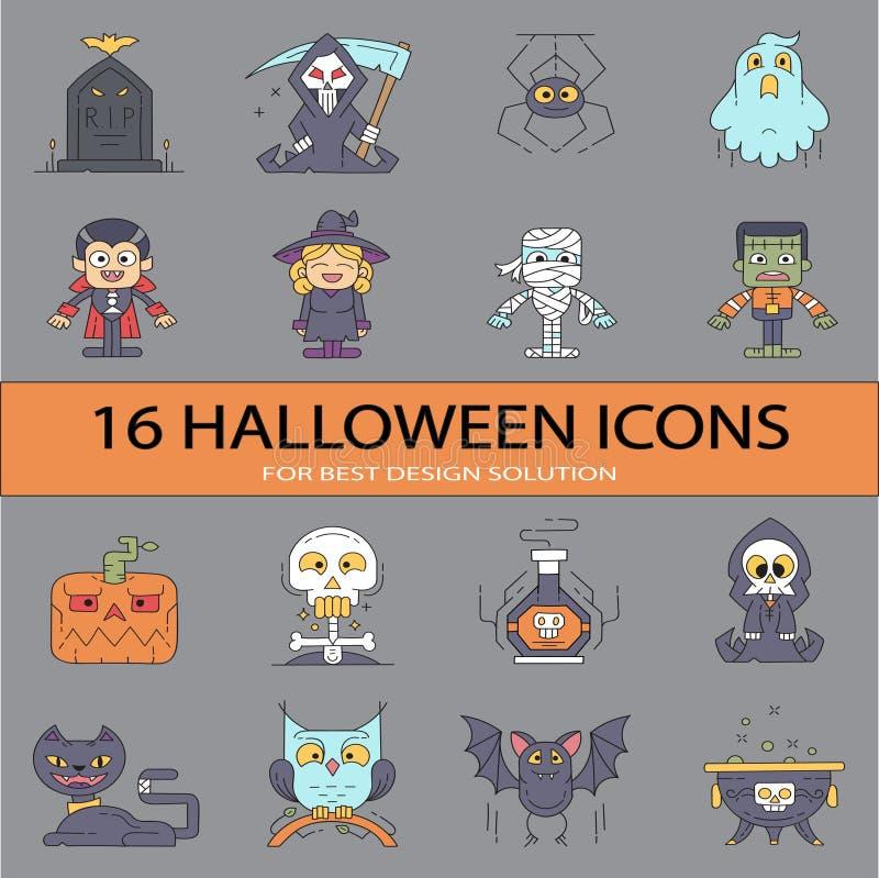 Flache Ikonen-großer Satz Halloweens! lizenzfreie stockbilder