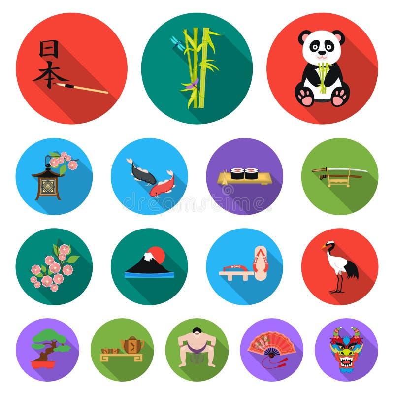 Flache Ikonen Land-Japans in der Satzsammlung für Design Japan und Markstein vector Netzillustration des Symbols auf Lager vektor abbildung