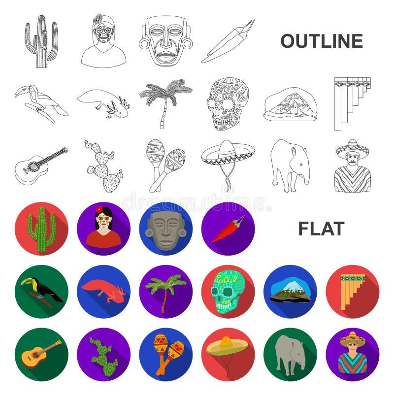 Flache Ikonen Land-Mexikos in der Satzsammlung für Design Mexiko und Markstein vector Netzillustration des Symbols auf Lager lizenzfreie abbildung