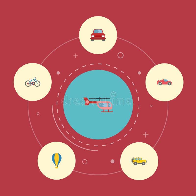 Flache Ikonen Luftschiff, Zerhacker, Luxusselbst- und andere Vektor-Elemente Satz Transport-flache Ikonen-Symbole umfasst auch vektor abbildung