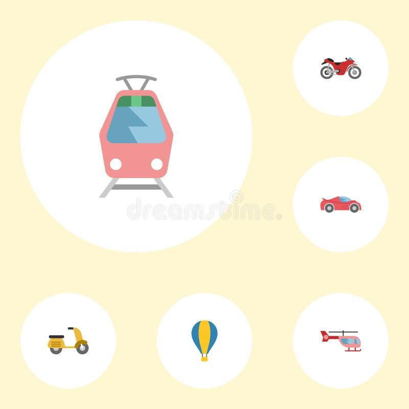 Flache Ikonen Luxusauto, Zerhacker, Straßenbahn und andere Vektor-Elemente Satz flache Ikonen-Selbstsymbole umfasst auch Fahrrad vektor abbildung