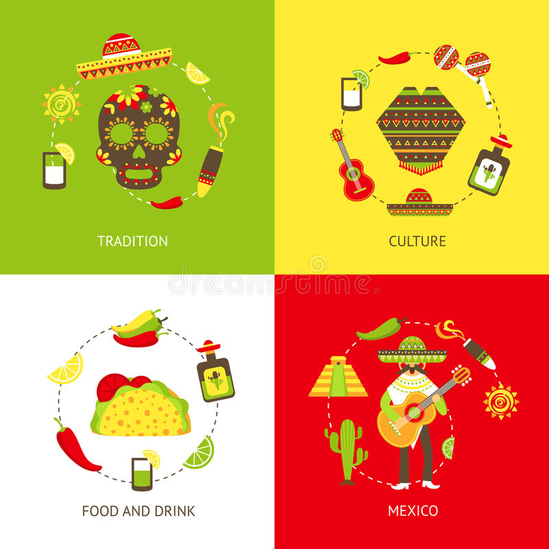 Flache Ikonen Mexikos eingestellt stock abbildung