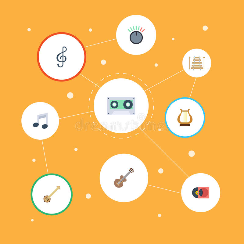 Flache Ikonen-musikalisches Instrument, akustisch, Banjo und andere Vektor-Elemente Satz von Melody Flat Icons Symbols Also umfas stock abbildung