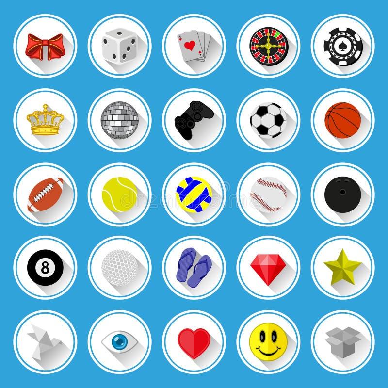 Flache Ikonen Und Piktogramme Eingestellt Lizenzfreies Stockbild