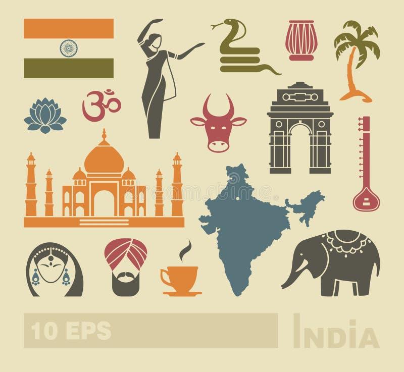 Flache Ikonen von Indien lizenzfreie abbildung