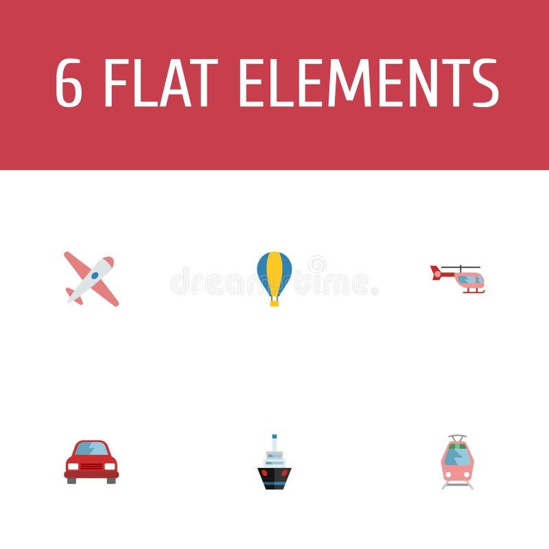 Flache Ikonen Zerhacker, Automobil, Flugzeuge und andere Vektor-Elemente Satz flache Ikonen-Selbstsymbole umfasst auch Ballon stock abbildung