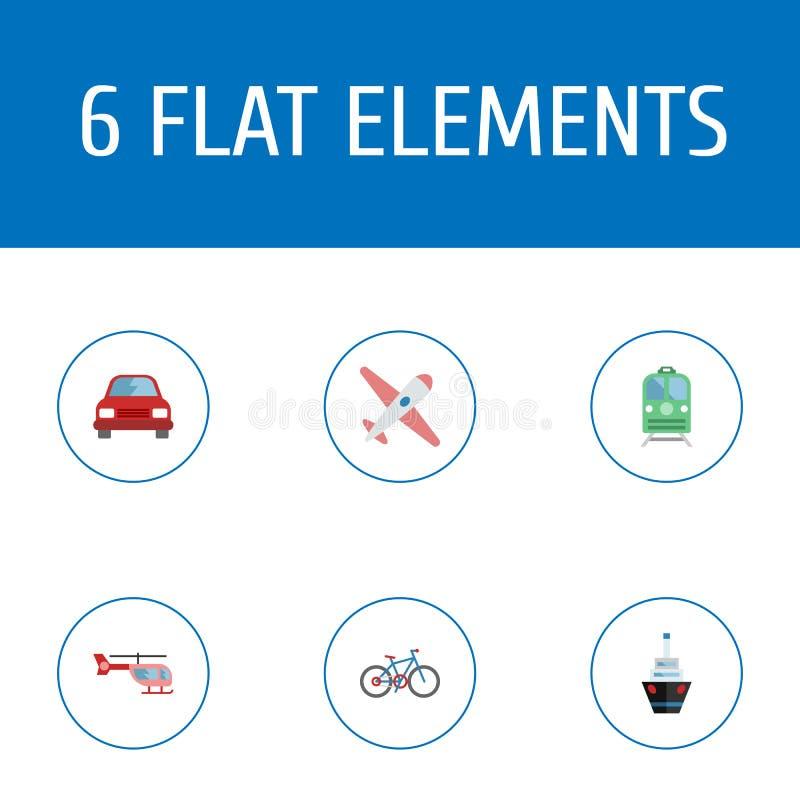 Flache Ikonen Zerhacker, Fahrrad, Flugzeuge und andere Vektor-Elemente Satz Fahrzeug-flache Ikonen-Symbole umfasst auch Schiff lizenzfreie abbildung