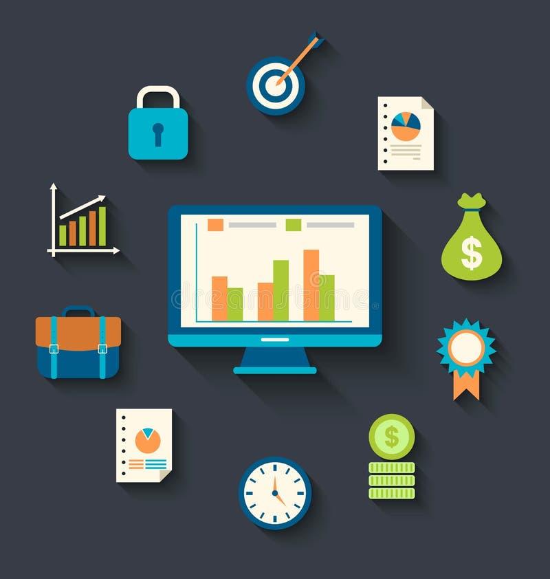 Flache Ikonenkonzepte für Geschäft, Finanzierung, strategisches Management vektor abbildung