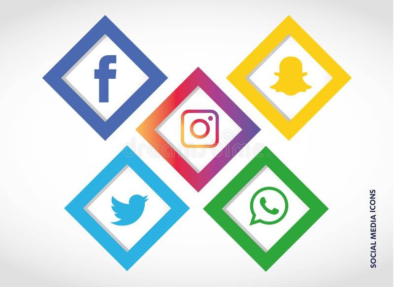 Flache Ikonentechnologie, Social Media, Netz, Computerkonzept Abstrakter Hintergrund mit Gegenstandelementgruppe Sternsmiley f stock abbildung