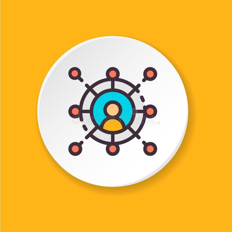 Flache Ikonenvernetzung des Vektors Knopf für Netz oder bewegliche APP lizenzfreie abbildung