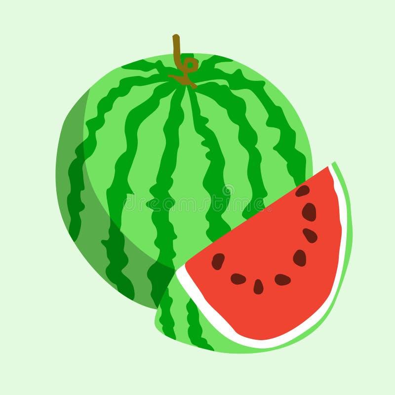 Flache Ikonenwassermelone Auch im corel abgehobenen Betrag vektor abbildung