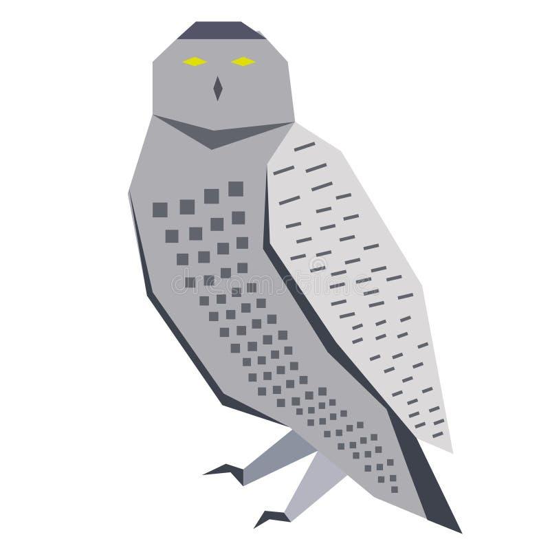 Flache Illustration der grauen Eule lizenzfreie abbildung