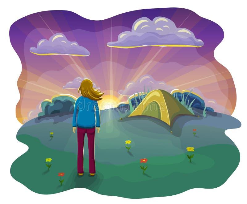 flache Illustration der Karikatur der Entspannungsfrau liegend beim Zelt in der Natur bei Sonnenuntergang Frau, die Sonnenunterga lizenzfreie abbildung