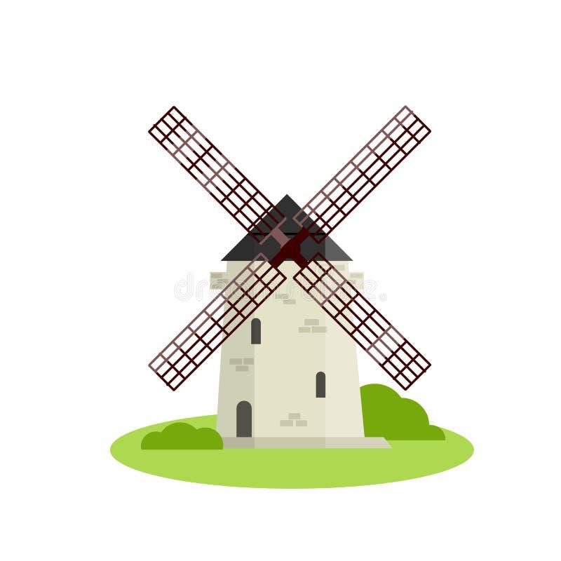 Flache Illustration der Karikatur - europäische Steinwindmühle in der Naturlandschaft stock abbildung