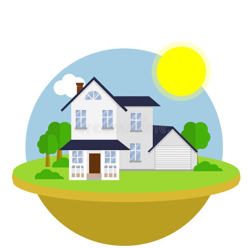 Flache Illustration der Karikatur - Vorstadthaus mit grünem Rasen und Sonne im Logo kreisen ein vektor abbildung